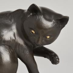 Maruki A JAPANESE MARUKI BRONZE OKIMONO OF A PLAYFUL CAT MARUKI - 1257676