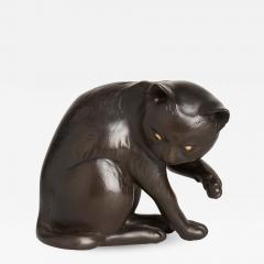 Maruki A JAPANESE MARUKI BRONZE OKIMONO OF A PLAYFUL CAT MARUKI - 1259459