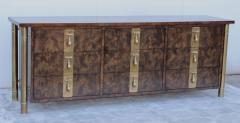 Mastercraft 1970s Nine Drawer Elm Burlwood Dresser By Mastercraft With Brass Hardware - 1828197