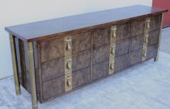 Mastercraft 1970s Nine Drawer Elm Burlwood Dresser By Mastercraft With Brass Hardware - 1828202