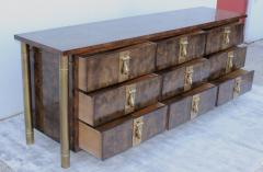 Mastercraft 1970s Nine Drawer Elm Burlwood Dresser By Mastercraft With Brass Hardware - 1828204