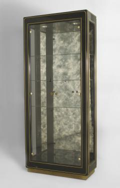 Mastercraft 3 American Mid Century Modern Ebonized Metal and Brass Trimmed Vitrine Cabinets - 465492