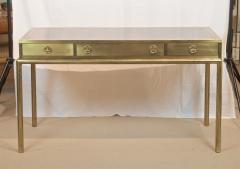Mastercraft Brass and Leather Campaign Style Desk by Bernard Rohne - 2124435