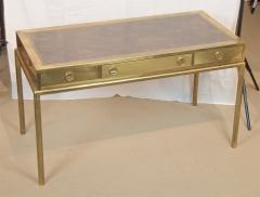 Mastercraft Brass and Leather Campaign Style Desk by Bernard Rohne - 2124438