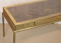Mastercraft Brass and Leather Campaign Style Desk by Bernard Rohne - 2124439