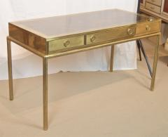 Mastercraft Brass and Leather Campaign Style Desk by Bernard Rohne - 2124441