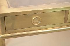 Mastercraft Brass and Leather Campaign Style Desk by Bernard Rohne - 2124442