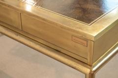 Mastercraft Brass and Leather Campaign Style Desk by Bernard Rohne - 2124444