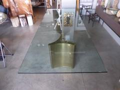 Mastercraft Glass Topped Dining Table with Two Mastercraft Brass Plated Steel Trilobi Bases - 356504