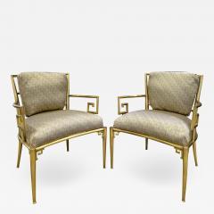 Mastercraft Mastercraft Pair Of Greek Key Lounge Chairs In Brass 1960s - 1304219