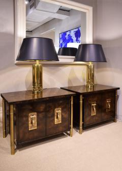 Mastercraft Mastercraft Pair Of Luxurious Bedside Tables In Carpathian Elm And Brass 1960s - 1301909