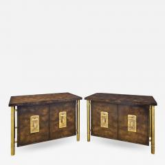 Mastercraft Mastercraft Pair Of Luxurious Bedside Tables In Carpathian Elm And Brass 1960s - 1304218