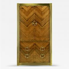 Mastercraft Mastercraft Zebrano Wood and Patinated Brass Tall Wardrobe Cabinet - 82426