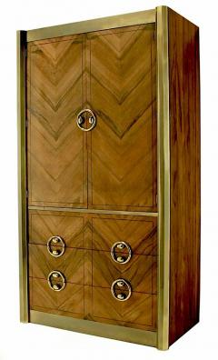 Mastercraft Mastercraft Zebrano Wood and Patinated Brass Tall Wardrobe Cabinet - 82427