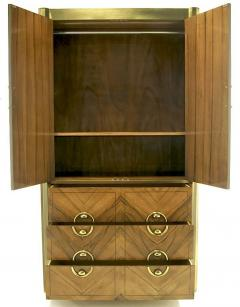 Mastercraft Mastercraft Zebrano Wood and Patinated Brass Tall Wardrobe Cabinet - 82429