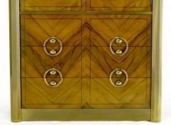 Mastercraft Mastercraft Zebrano Wood and Patinated Brass Tall Wardrobe Cabinet - 82430