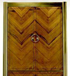 Mastercraft Mastercraft Zebrano Wood and Patinated Brass Tall Wardrobe Cabinet - 82431