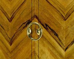 Mastercraft Mastercraft Zebrano Wood and Patinated Brass Tall Wardrobe Cabinet - 82432
