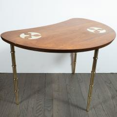 Mastercraft Midcentury Organic Inlaid Brass Walnut Bowfront Side End Table by Mastercraft - 1522648