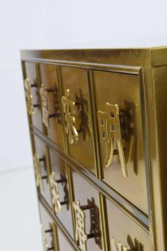 Mastercraft Pair Mastercraft Commode Nightstands Chests Brass Veneer Depicting Four Dynastys - 1264239