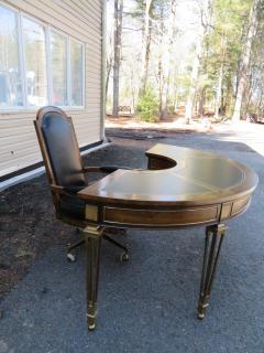 Mastercraft Spectacular Mastercraft Burled Walnut Brass Demi Lune Desk with Matching Chair - 1032277
