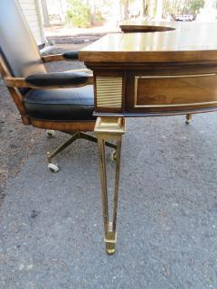 Mastercraft Spectacular Mastercraft Burled Walnut Brass Demi Lune Desk with Matching Chair - 1032278