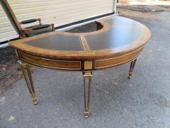 Mastercraft Spectacular Mastercraft Burled Walnut Brass Demi Lune Desk with Matching Chair - 1032279