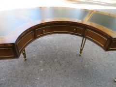 Mastercraft Spectacular Mastercraft Burled Walnut Brass Demi Lune Desk with Matching Chair - 1032281