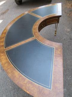 Mastercraft Spectacular Mastercraft Burled Walnut Brass Demi Lune Desk with Matching Chair - 1032282
