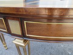 Mastercraft Spectacular Mastercraft Burled Walnut Brass Demi Lune Desk with Matching Chair - 1032285