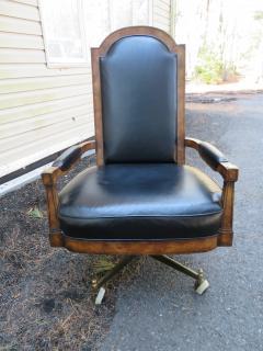 Mastercraft Spectacular Mastercraft Burled Walnut Brass Demi Lune Desk with Matching Chair - 1032286