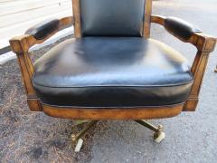 Mastercraft Spectacular Mastercraft Burled Walnut Brass Demi Lune Desk with Matching Chair - 1032287