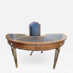 Mastercraft Spectacular Mastercraft Burled Walnut Brass Demi Lune Desk with Matching Chair - 1032633