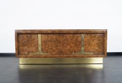 Mastercraft Vintage Burl Wood Brass Credenza By Mastercraft   215010