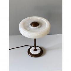 Matlight Milano Bespoke Art Deco Design Italian White Alabaster Bronze Color Round Table Lamp - 1808818