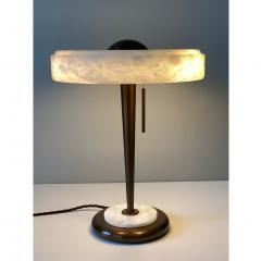 Matlight Milano Bespoke Art Deco Design Italian White Alabaster Bronze Color Round Table Lamp - 1808819