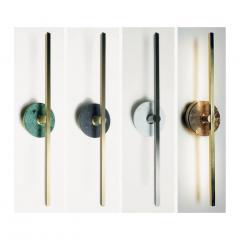 Matlight Milano Bespoke Italian Minimalist Brown Marble Satin Brass Vertical Horizontal Sconce - 1739502