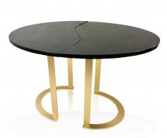Matlight Milano Bespoke Italian Textured Brass Black Granite Oval Side Table Doubles as a Pair - 2038797