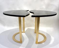 Matlight Milano Bespoke Italian Textured Brass Black Granite Oval Side Table Doubles as a Pair - 2038798