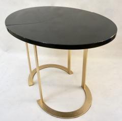 Matlight Milano Bespoke Italian Textured Brass Black Granite Oval Side Table Doubles as a Pair - 2038799