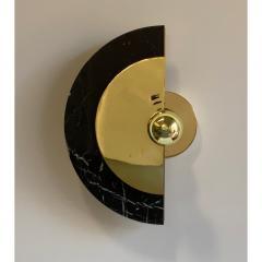 Matlight Milano Bespoke Matlight Art Deco Style Half Moon Rotating Brass Sconce in Black Marble - 1902963