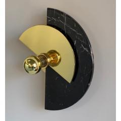 Matlight Milano Bespoke Matlight Art Deco Style Half Moon Rotating Brass Sconce in Black Marble - 1902964