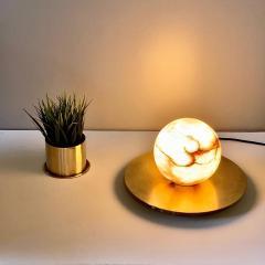 Matlight Milano Bespoke Matlight Italian Alabaster Moon Minimalist Satin Brass Round Table Lamp - 1614293
