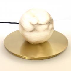 Matlight Milano Bespoke Matlight Italian Alabaster Moon Minimalist Satin Brass Round Table Lamp - 1614294