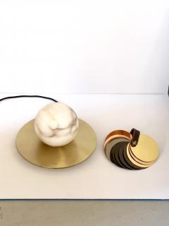Matlight Milano Bespoke Matlight Italian Alabaster Moon Minimalist Satin Brass Round Table Lamp - 1614296