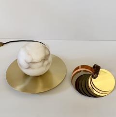 Matlight Milano Bespoke Matlight Italian Alabaster Moon Minimalist Satin Brass Round Table Lamp - 1614297
