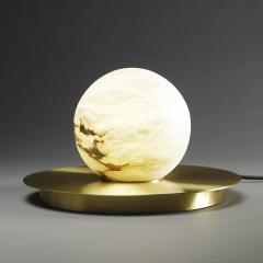 Matlight Milano Bespoke Matlight Italian Alabaster Moon Minimalist Satin Brass Round Table Lamp - 1614299