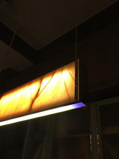 Matlight Milano Bespoke Minimalist Italian Onyx Geometric Linear Satin Brass Pendant Chandelier - 1990721