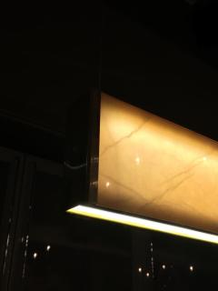 Matlight Milano Bespoke Minimalist Italian Onyx Geometric Linear Satin Brass Pendant Chandelier - 1990722