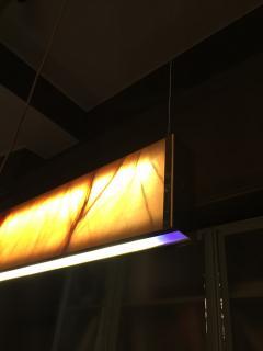 Matlight Milano Bespoke Minimalist Italian Onyx Geometric Linear Satin Brass Pendant Chandelier - 1990726
